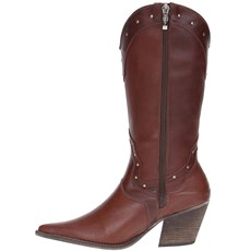 09a299f30d Bota Country de Couro Feminina Cano Longo Via Art 19688 - Rodeo West