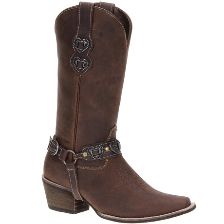8b4c38c2cfa Bota Country Feminina de Couro Marrom Via Art 19646 - Rodeo West