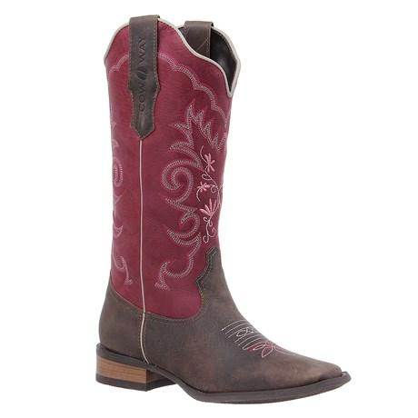 Bota Country Feminina Marrom Cow Way Bico Quadrado 26157