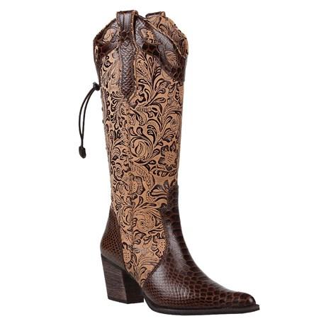Bota Country Feminina Texana Cano Longo Regulável Marrom 24479