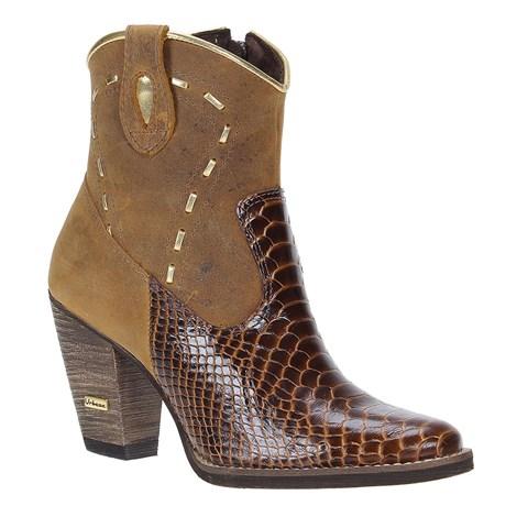 Bota Escamada Feminina Marrom Bico Redondo Urbana Boots 23433