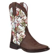 Bota Feminina Cano Longo Floral Bico Quadrado Cow Way 24490