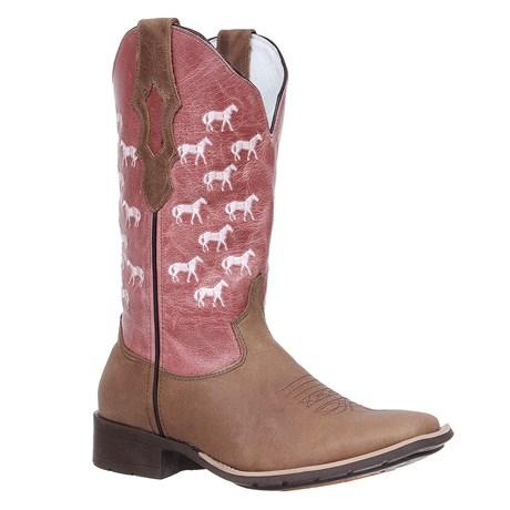 Bota Feminina Country Marrom Bico Quadrado Cow Way 27115