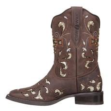 Bota Feminina Country Marrom com Glitter Dourado Cow Way 26814