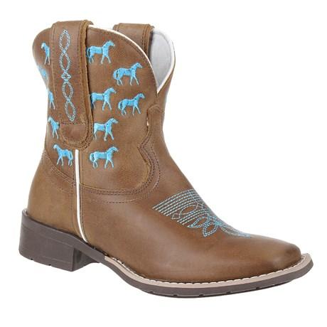 Bota Feminina Marrom Western Bordado Azul Cow Way 26496