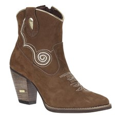 Bota Feminina Salto Grosso Couro Marrom Urbana Boots 20728