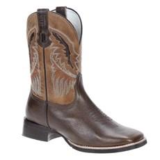 Bota Masculina Bico Quadrado Western Cano Longo Couro Marrom - Via Boots 18774
