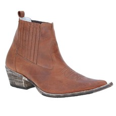 Bota Masculina Texana Bico Fino Cano Curto - Via Boots 18740