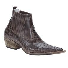 Bota Masculina Texana Bico Fino Escamada Cano Curto Marrom - Via Boots 18655