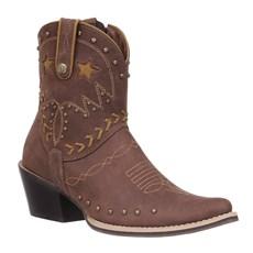 Bota Texana Feminina Cano Curto Tabaco Cow Way 27063