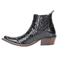 Bota Texana Masculina Bico Fino Preta Cobra Anaconda Cow Way 23497