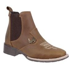 Botina Bico Quadrado Feminina Marrom Urbana Boots 24157