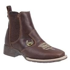 Botina de Couro Feminina Bico Quadrado Urbana Boots 24158