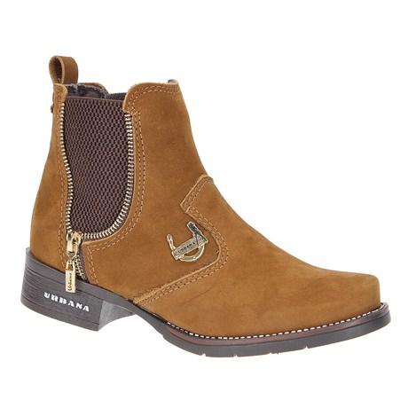 Botina de Couro Marrom Feminina Urbana Boots 23095