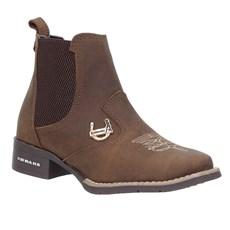 Botina Feminina Bico Quadrado Couro Marrom Urbana Boots 28672