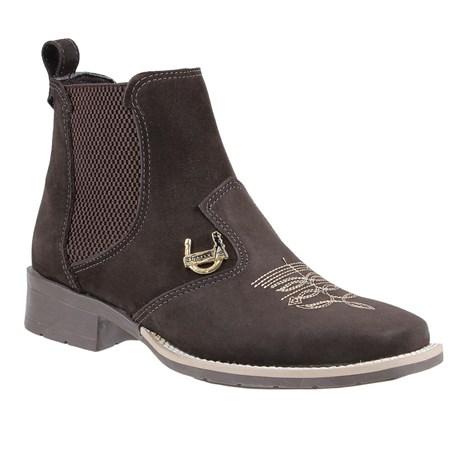 Botina Feminina Bico Quadrado Marrom Urbana Boots 24159
