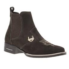 Botina Feminina Bico Quadrado Marrom Urbana Boots 27352