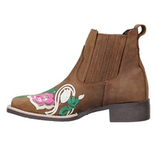 Botina Feminina Bordada Bico Quadrado Urbana Boots Marrom 26726