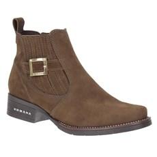 Botina Feminina Marrom Bico Redondo Urbana Boots 23435