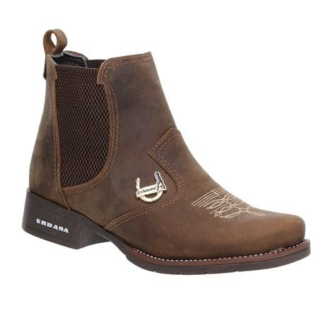Botina Feminina Marrom Bico Redondo Urbana Boots 25095