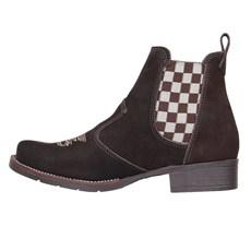Botina Feminina Urbana Boots Marrom com Elástico Xadrez 26727