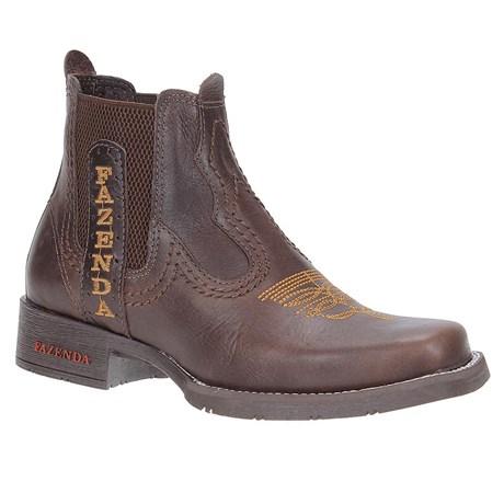 Botina Masculina Couro Café Fazenda Boots 23448