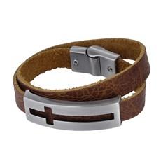 Bracelete de Couro Marrom Duas Voltas Masculino Detalhe Cruz Ostral 25075