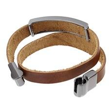 Bracelete de Couro Marrom Duas Voltas Masculino Detalhe Cruz Ostral 29666