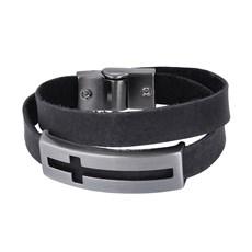 Bracelete de Couro Preto Duas Voltas Masculino Detalhe Cruz Ostral 25073