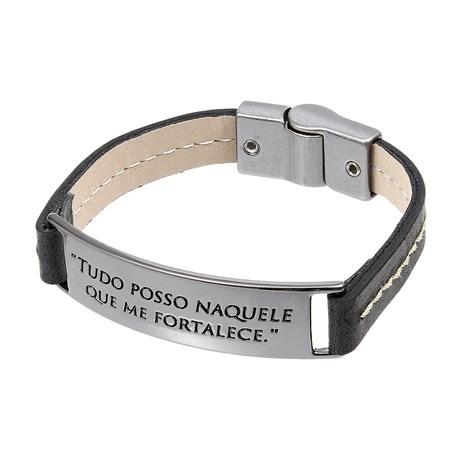 """Bracelete de Couro Preto """"Tudo Posso Naquele que Me Fortalece"""" Ostral 29664"""
