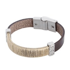 Bracelete Masculino Couro Marrom Ostral 25077