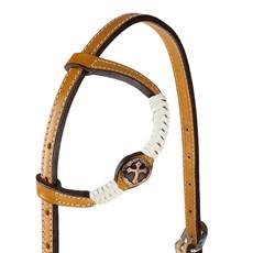 Cabeçada 1 Orelha de Couro com Charroas e Aplique de Cruz Rodeo West 25479