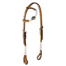 Cabeçada 1 Orelha de Couro para Cavalo com Charroas e Aplique Estrela Envelhecida  Rodeo West 25478