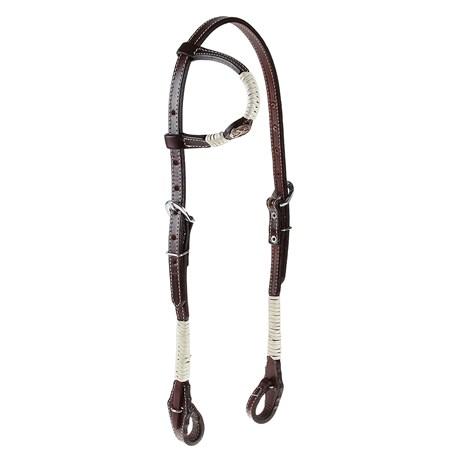 Cabeçada 1 Orelha para Cavalo com Charroas e Aplique Cruz Cobre Envelhecido Rodeo West 25473