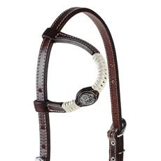 Cabeçada 1 Orelha para Cavalo com Charroas e Margaridas Floral Rodeo West 25474
