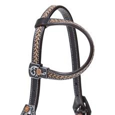 Cabeçada 1 Orelha para Cavalo  Couro Bordado com Margaridas Top Equine 28034