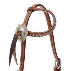 Cabeçada 1 Orelha para Cavalo  Couro com Apliques e Margaridas Top Equine 28033