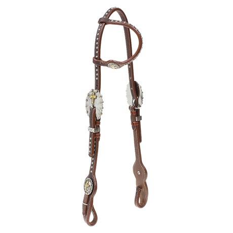 Cabeçada 1 Orelha para Cavalo  Couro com Margaridas Cruz e Apliques Top Equine 28037