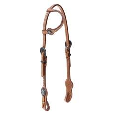 Cabeçada 1 Orelha para Cavalo  Couro com Margaridas e Apliques Top Equine 28036