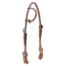 Cabeçada 1 Orelha para Cavalo  Couro com Margaridas e Apliques Top Equine 28042