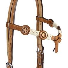 Cabeçada com Testeira Nó com Afogador e Charroas Apliques Estrela em Cobre Rodeo West 25468