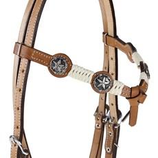 Cabeçada com Testeira Nó com Afogador e Charroas Apliques Estrela Prata Envelhecida Rodeo West 25471