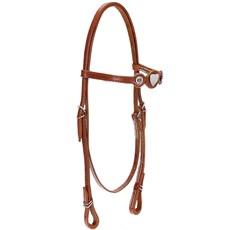 Cabeçada de Cavalo com Testeira Bronc-Steel Couro Havana 21885