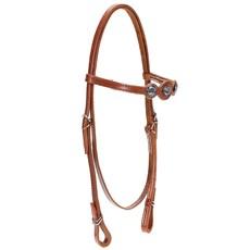Cabeçada de Cavalo com Testeira Bronc-Steel Couro Havana 21888