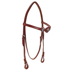 Cabeçada de Cavalo com Testeira Bronc-Steel Couro Havana 23677