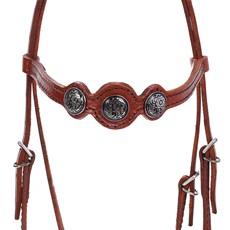 Cabeçada de Cavalo com Testeira Bronc-Steel Couro Havana 23679