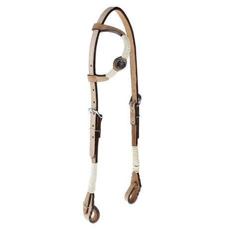 Cabeçada de Couro 1 Orelha para Cavalo com Charroas e Aplique Rodeo West 25476
