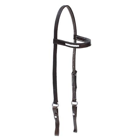 Cabeçada de Couro Café para Cavalo com Testeira Bronc-Steel 26719