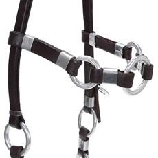 Cabeçada de Couro com Argolas para Cavalo Bronc-Steel 23664