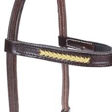 Cabeçada de Couro Marrom para Cavalo com Testeira - Bronc-Steel 18502